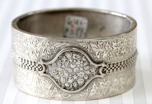 ANTIQUE ~ Engraved Sterling Silver Bangle