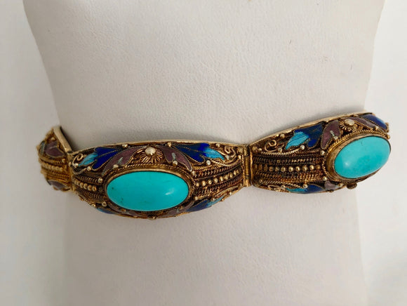 Enamel and Turquoise Bangle