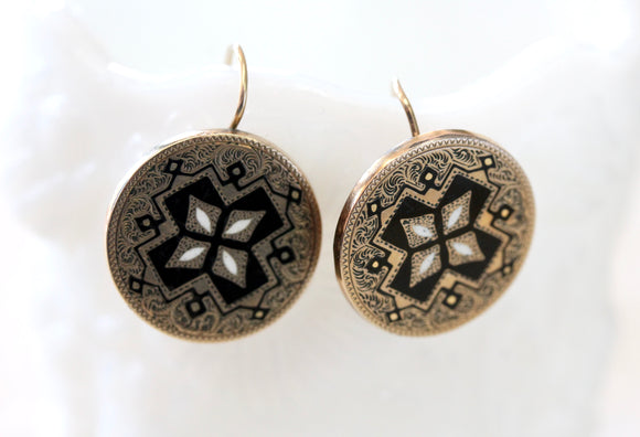 ANTIQUE ~ Black Enamel and Gold Earrings