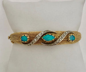 Opal and Diamond Bangle