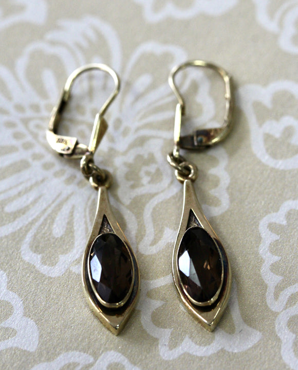 Lovely ~ Gold Drop Earrings with stone