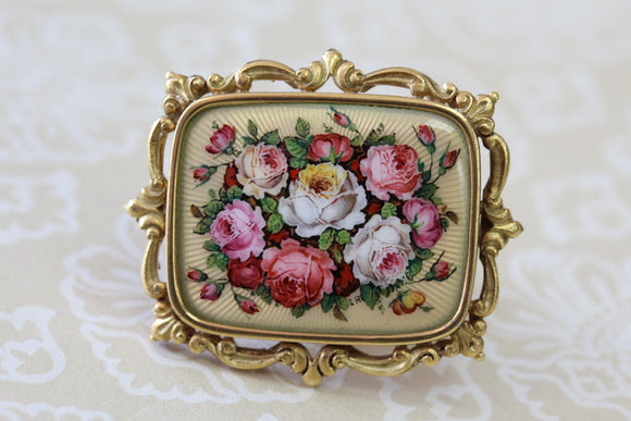 Hand Painted Enamel Pin with Roses ~ Beautiful