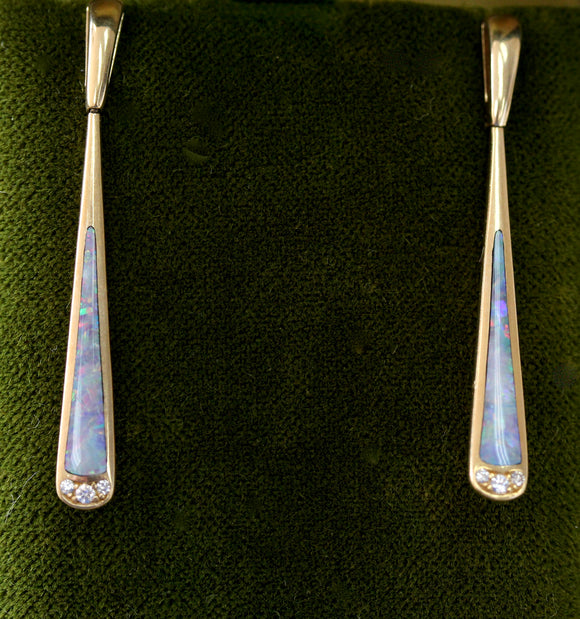 Sleek ~ Opal & Diamond Earrings