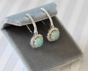 Sweet ~ Opal & Diamond Earrings