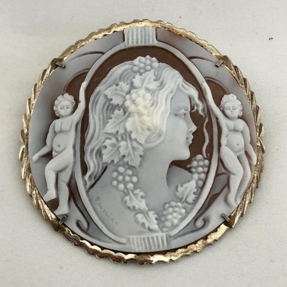 Large Shell Cameo Pin/Pendant