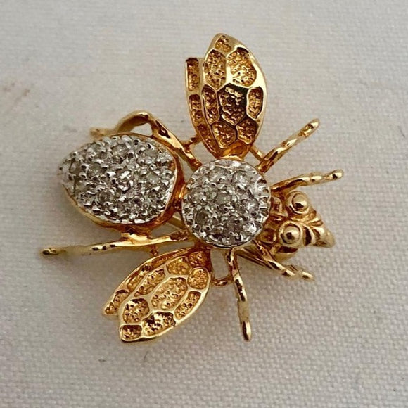 Gold and Diamond Bee Pin/Pendant