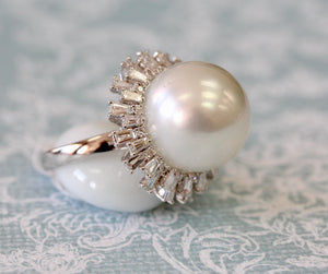 WOW ~ South Sea Pearl Ring with Diamonds