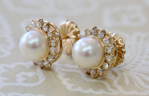 Classic ~ Pearl & Diamond Stud Earrings