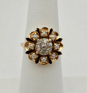 Diamond Cluster Ring with Pearls and Black Enamel