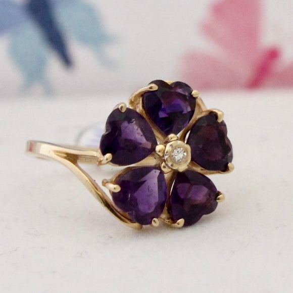Cheerful Vintage Amethyst & Diamond Ring