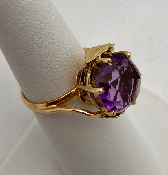 Amethyst Ring with Leaf Motif