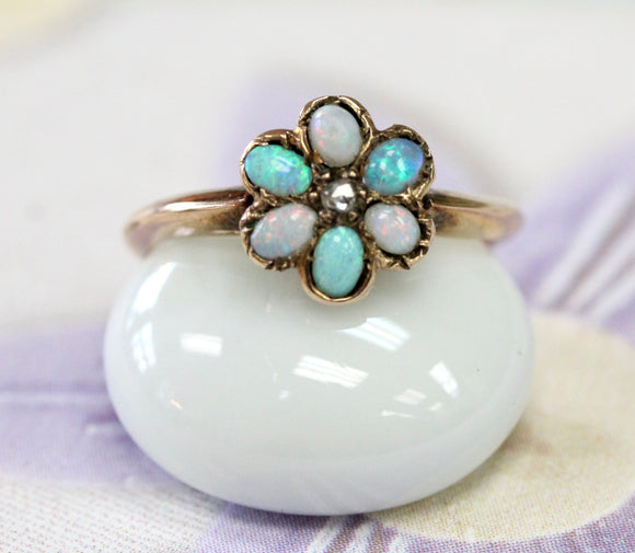 Dainty ~ Opal Ring with center diamond