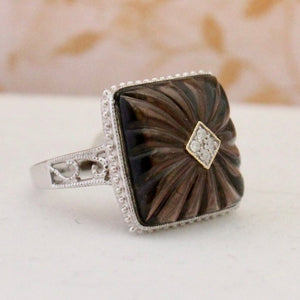 Alluring Carved Quartz & Diamond Ring