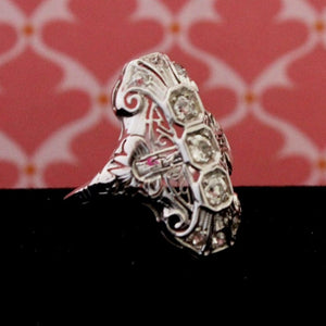 Vintage Diamond Filigree Statement Ring, 18K, White Gold