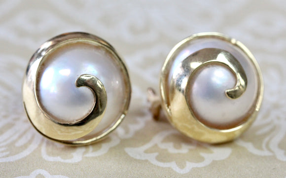 Contemporary ~ Mabe Pearl Earrings