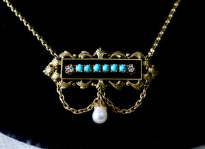 Vintage ~ Enamel, Turquoise & Diamond Necklace