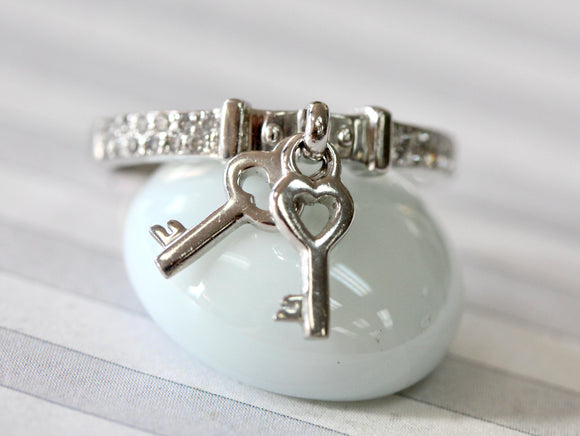 LOVABLE ~ Dainty Diamond Ring with double key charms