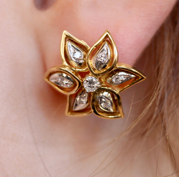 Diamond Flower Earrings ~ Cheerful