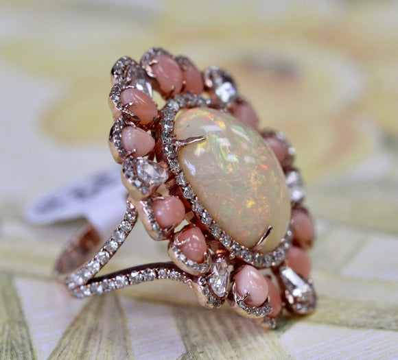 Spectacular ~ Opal, Coral & Diamond Ring