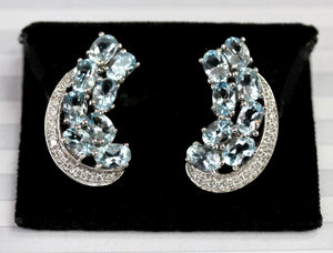 Aquamarine & Diamond Earrings ~ AMAZING