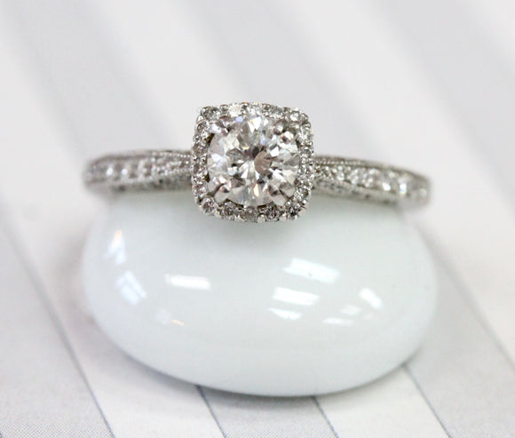 Dainty ~ Platinum Round Center Diamond in a Square Halo Setting
