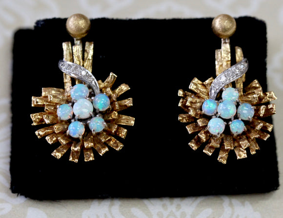 Jacket Style Opal with Diamond Drop Earrings