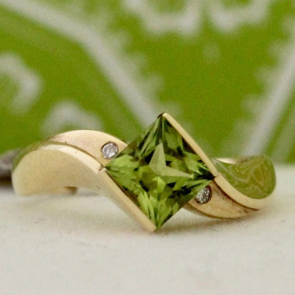 Contemporary & Colorful Peridot Ring