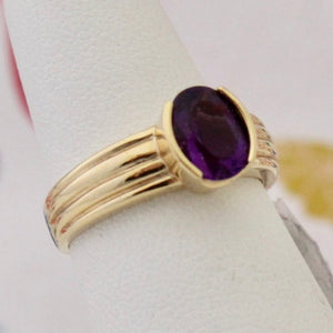Contemporary oval Amethyst Ring