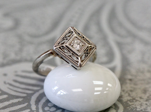 VINTAGE ~ Diamond Filigree Ring
