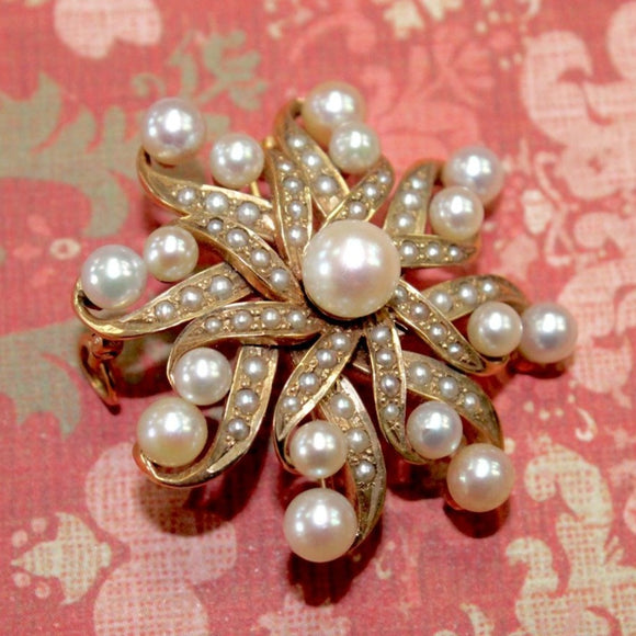 Romantic Vintage Pearl Pin / Pendant, 14K, can be worn two ways