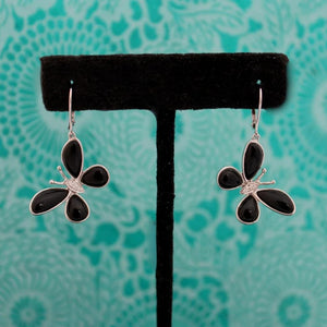 Black Onyx & Diamond Butterfly Earrings, 14k,