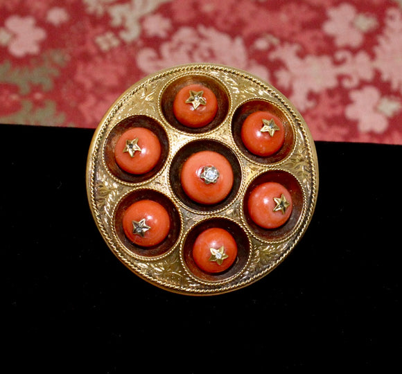Victorian Pin with 7 Round Coral Pieces