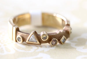 Geometric Design Gold Band with Natural Colored Diamonds