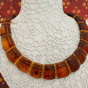 Colorful & Fun, Graduated bib style Amber necklace