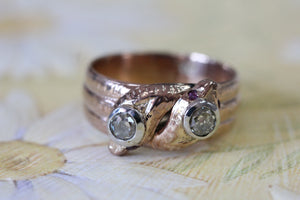 Rose Gold SNAKE Ring with Ruby Eyes