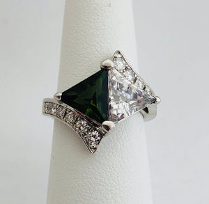 Diamond, Green Tourmaline and Moissanite Ring