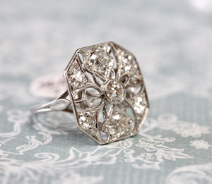 FAB-U-LOUS ~ Platinum Ring with European Cut Diamonds