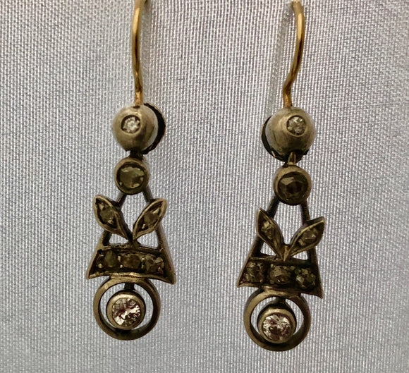 Victorian Silver and Gold Diamond Drop Earrings