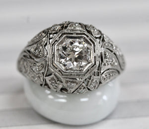 Brilliant ~ Platinum Diamond Engagement Ring, Circa 1925