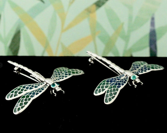 COLORFUL ~ Pair of Plique A Jour Dragonfly Pin / Pendents
