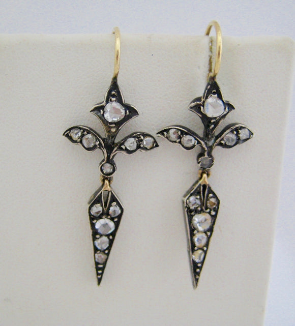 Victorian Rose-Cut Diamond Drop Earrings