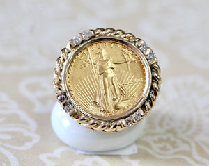 Fun & Interesting  ~ Diamond Accented Coin Ring