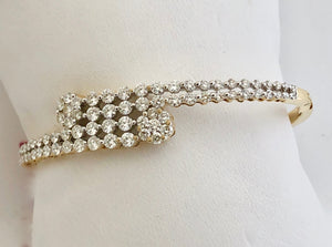 Double Row Diamond Bangle with Flower Accents