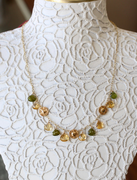 Flirty ~ Citrine & Peridot Necklace