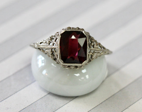 VINTAGE ~ Garnet Ring in White Gold
