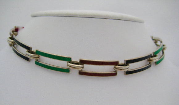 Sterling Multi-Color Enamel Choker