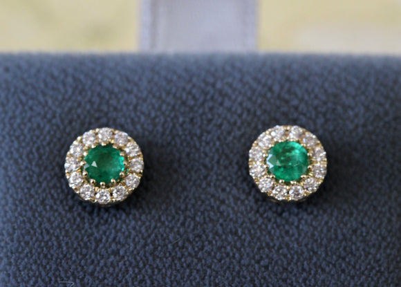 Precious ~ Emerald & Diamond Stud Earrings