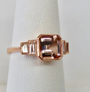 Asscher Cut Morganite and Diamond Ring