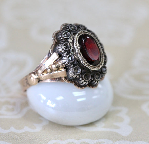 Antique ~ Garnet & Diamond Ring