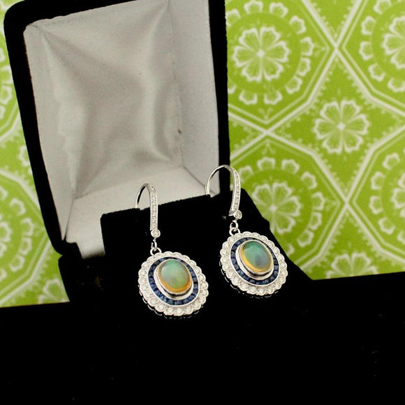 Opal, Sapphire & Diamond Earrings ~ WOW